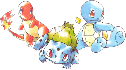 Pokemon Blue and Red Starters