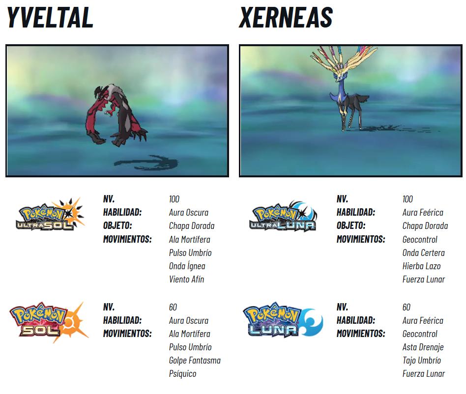Pokémon Legendarios 2018 Mayo Info Xerneas e Yveltal